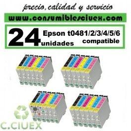 PACK 24 CARTUCHOS COMPATIBLES EPSON T0481/2/3/4/5/6 A ELEGIR COLOR