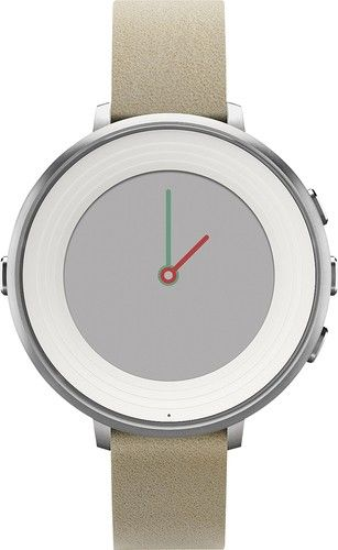 Pebble - Time Round Smartwatch 38.5mm Stainless Steel - Silver/Stone Leather