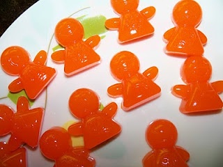Juice Jell-O Jigglers    1 small box Jell-O (3 oz regular, or 0.3 oz sugar free)  2/3 c juice (don't use pineapple juice)    Boil juice, and stir in jell-o powder.  Pour into molds (I used a silicone chocolate mold and silicone muffin cups for what didn't fit into the mold) or into a saran wrap lined baking dish.  Let set in the refrigerator for several hours.  If you didn't use a mold, cut into shapes with a cookie cutter.