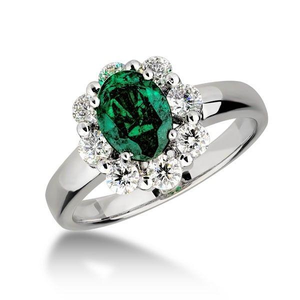Inel diamante si smarald DIHK00551 ‐ Bijuteria Teilor