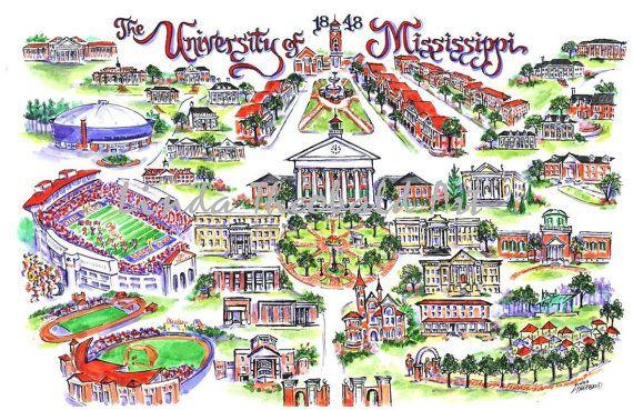 University of Mississippi Ole Miss Illustrated Art Print