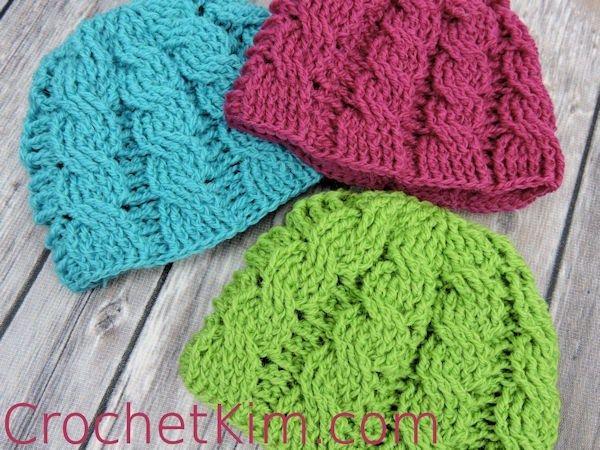 CrochetKim Free Crochet Pattern | Newborn Cable Beanie @crochetkim