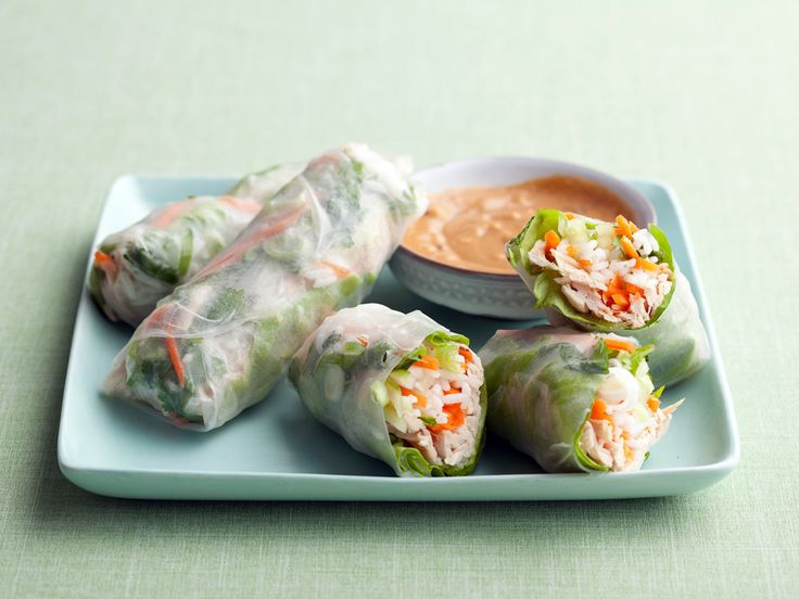 Chicken Summer Rolls from FoodNetwork.com  -  An alternative to traditional summer rolls, these are filled with rotisserie chicken instead of shrimp. They make a healthy and filling lunch or light dinner.  Read more at: http://www.foodnetwork.com/recipes-and-cooking/weeknight-rotisserie-chicken-recipes/pictures/index.html?oc=linkback