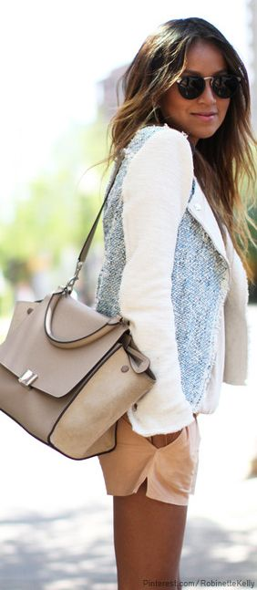 Casual Street Style: nude shorts, white and soft blue jacket, sunnies and nude big bag.