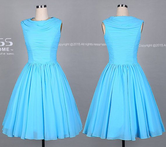 Simple Sky Blue A Line Prom Dress/Light Blue Short by DressHome