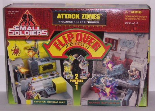 Small Soldiers Attack Zones mini playset with 4 mini figures! by Kenner. $19.99. Small Soldiers Big Battles!. Rare toy from 1998!. Includes 4 mini Figures!. Flip Over Action!. Attack Zones Micro Playset!. Small Soldiers Attack Zones Mini Playset with 4 mini figures (Kenner 1998) Attack Zones Mini Playset includes Kitchen Combat Site and Flip it over for Garage Battlefield! Playset includes 4 mini figures: Butch Meathook, Slamfist, Archer and Chip Hazard.