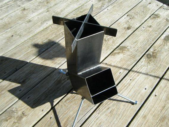 Construcci n de acero soldado de cohete estufa auto for Homemade rocket stove plans