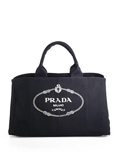 Prada - Logo Printed Large Canvas Tote - Saks.com