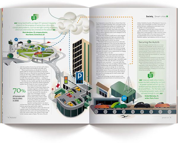 Illustrations for Gemalto's The Review Magazine and an article about M2M (Machine to Machine) technology, making Cities greener, more efficient and better connected.