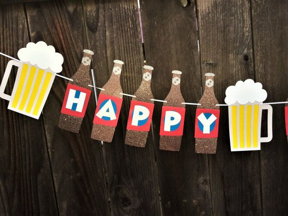 HAPPY 21st BIRTHDAY Banner Beer Birthday by DearingsCustomDesign