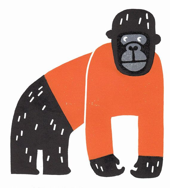 Black gorilla knitter in an orange jumper lino by ruthbroadway