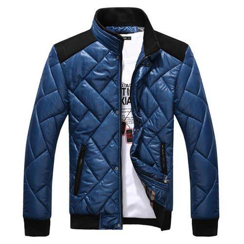 Blouson Veste Homme Matelasse a col Mandarin Fashion Classe Jacket winter Bleu