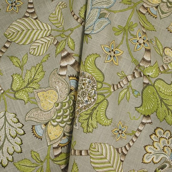 Etsy の Clarice Dove Drapery Floral Jacobean Fabric by TheFabricCo