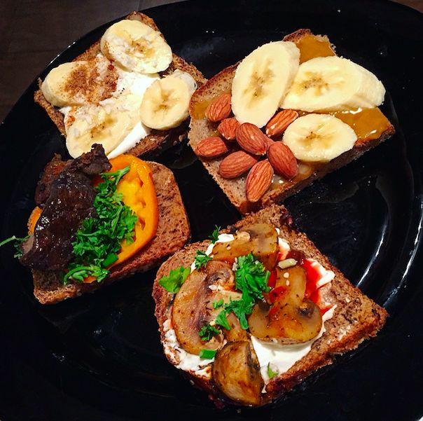 """Творожный сыр намазываем на хлеб """"Восточный базар"""" , поджаренные в томатной пасте шампиньоны , присыпаем зеленью.  На хлеб """"Польза"""" намазываем пасту из семени льна( """"Урбеч""""), выкладываем помидорки, кусочки говядины ( тушенная на сковороде с луком и черным перцем) На хлеб """"Восточный базар"""" намазываем натуральный йогурт , банан (нарезанный кольцами) выкладываем , присыпаем корицей и кокосовой стружкой.  Использовала хлеб """"Польза"""" , пасту из семени льна , банан и миндаль."""