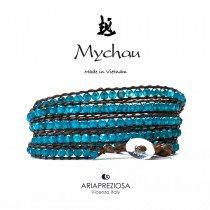 Mychau - Bracciale Vietnam originale realizzato con Agata Blu naturale su base bracciale col. Testa di Moro