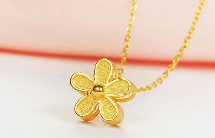 Hot sale  New Year 999 24K Yellow gold Cute Chrysanthemum Pendant 1.93g