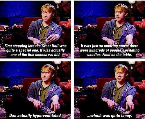 Good stuff: Dan Hyperventil, Harry Potter Cast, Random Funny Pictures, Rupert Grint Harry Potter, Hogwarts Food, Rupert Grint Funny, Ron Weasley, Harry Potter Humor, Poor Dan