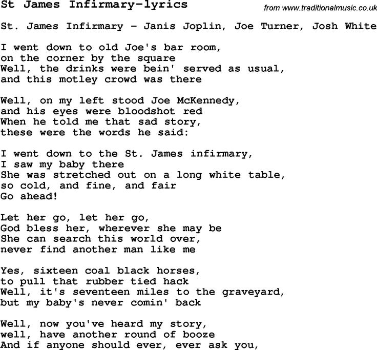 Lyric blues songs lyrics : 13 best Music - St James Infirmary images on Pinterest | James d ...