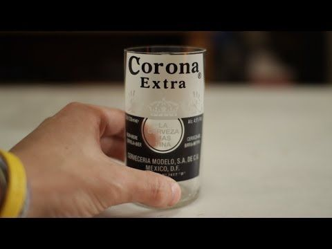 How to make Corona beer bottles into glasses every time! NO FIRE - YouTube Score glass, pour boiling water over score, then cold water.