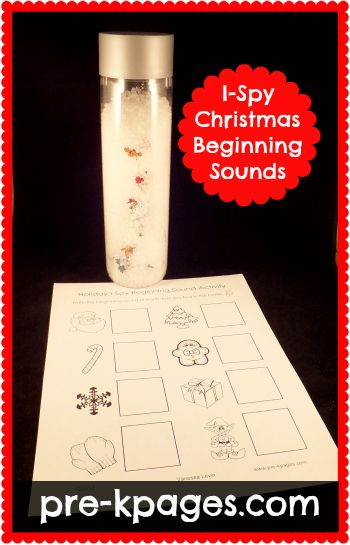 Holiday I Spy Beginning Sounds Activity (Photo from Pre-K Pages)~ Use an