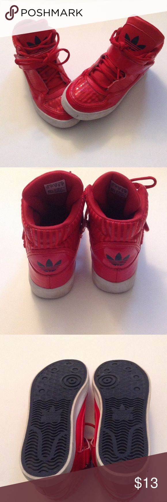 Boys adidas Hightops size 1 1/2 This is a pair of red and white Adidas shoes in a boys 1 1/2. The shoes have a small amount of dirt toward the bottom,  and wear toward the top(as seen in the photos) this is nothing that can't be cleaned. Willing to negotiate price!! Adidas Shoes Sneakers