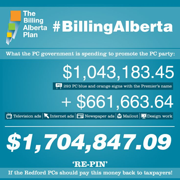 "You've probably seen the PC blue and orange ""Building Alberta"" signs popping up all over the Alberta countryside. Those cost more than $ 1 million alone. Today, however, Wildrose revealed almost $700,000 in additional costs for this partisan ad campaign that taxpayers are paying for. TV ads, internet ads, newspaper ads and full-colour brochures – all adorned in PC party colours and all paid for by you! #ableg"