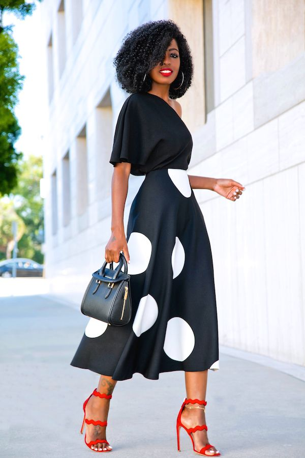 Style Pantry | One Shoulder Silk Blouse + B&W Polka Dot Midi Skirt