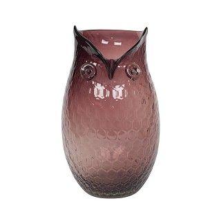 Glazen uil, te gebruiken als vaas. Paars. Ø 15 cm, h 27 cm. €32.95.