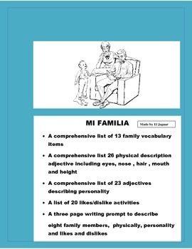 La Familia Proyecto Power Point Poster Family Description Spanish