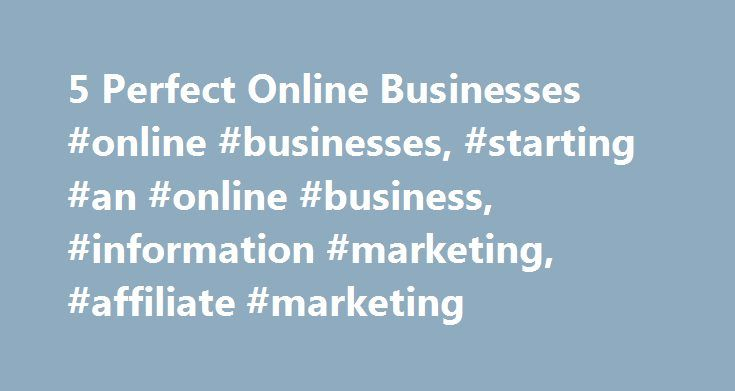 5 Perfect Online Businesses #online #businesses, #starting #an #online #business, #information #marketing, #affiliate #marketing http://houston.nef2.com/5-perfect-online-businesses-online-businesses-starting-an-online-business-information-marketing-affiliate-marketing/  # 5 Perfect 'Spare-Time' Online Businesses Entrepreneur, author, adventurer founder Maverick1000 With all the doom and gloom news about the economy, there s never been a better time to make an extra paycheck online with a…