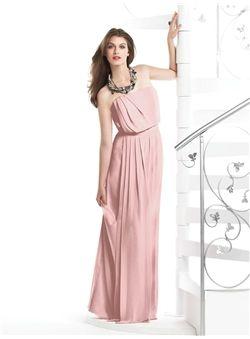 2013 Lovely Ruffles Sheath / Column Strapless Chiffon Bridesmaid Dresses