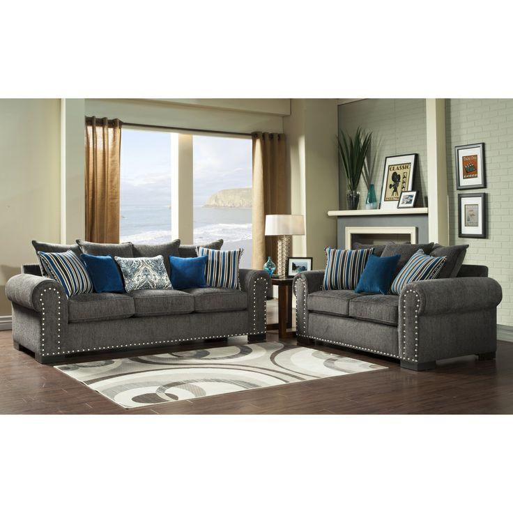 Furniture of America Ivy Grey Blue Modern 2Piece SofaLove Set by