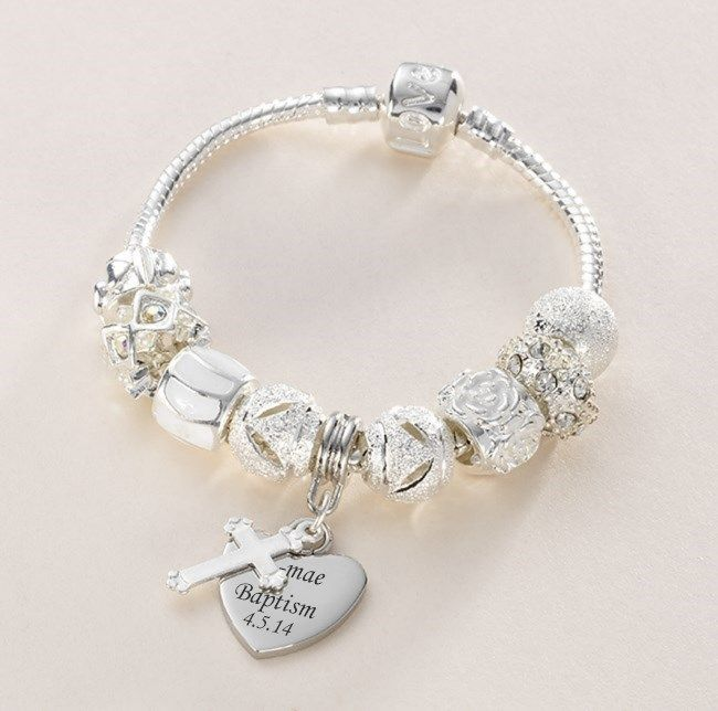 Charm Bead Bracelet, Personalised with Engraved Heart Charm. Any Engraving. A lovely, fashionable and sentimental gift for a special girl. Silver plated snake chain with a selection of white and silver charm beads with Tibetan silver cross charm.