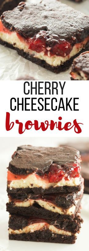 These Cherry Cheesecake Brownies start with fudgy homemade brownies, and are filled with cheesecake and cherry pie filling. They are the BEST brownies! Includes step by step recipe video   best brownie recipe   chocolate dessert   cream cheese   chocolate cherry   bars   squares