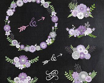 """Clipart de boda de pizarra """"Pizarra boda FLORAL"""" clip art, VintageFlowers, guirnalda Floral, flores de boda, invitación instantánea descargar Wf021"""