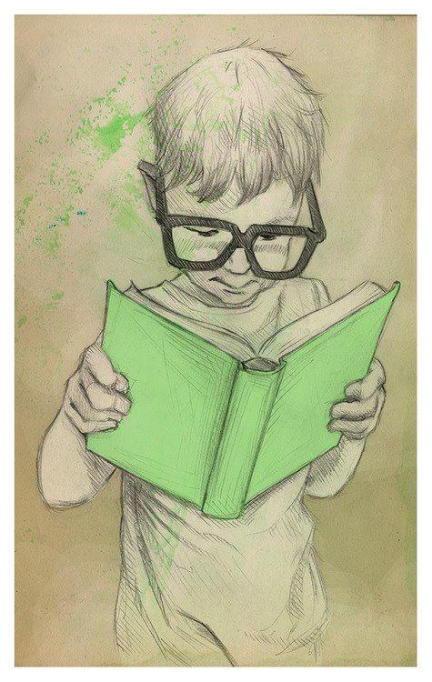 Little boy reading illustration