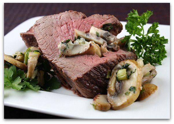 bluecheese & Mushroom stuffed beef tenderloin Fall Dinner Party 9