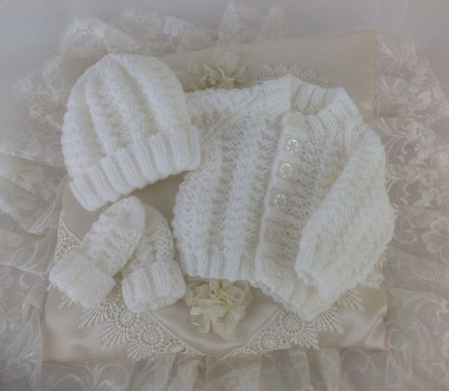 Hand Knitted Early Baby White Cardigan, Hat & Mittens £20.00
