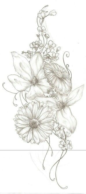 Stems and small flowers on the outside areas of the tattoo wanted. possibly using the daffodils if it will suit