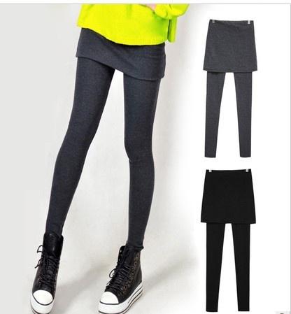 F04479 Casual 9 de comprimento hip sólido magro culottes falso duas peças collants Leggings calças skinny para mulher saia senhora + navio livre