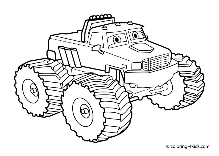 Monster Truck Coloring Page For Kids Books Printable Free