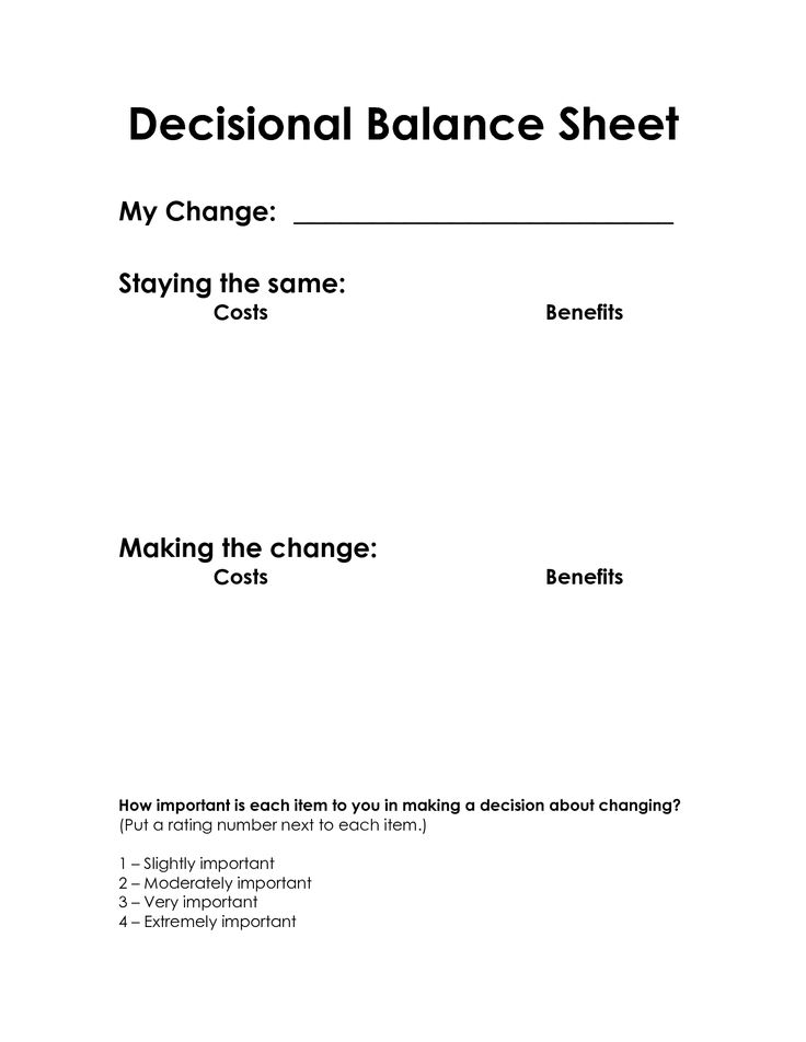 Decisional Balance Sheet (Motivational Interviewing)