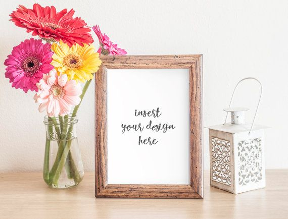 Wooden Frame Mockup With A Bouquet Of Gerbera by JeanBalogh