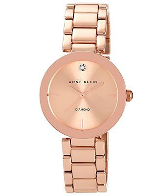 Anne Klein Watch, Women's Diamond Accent Rose Gold-Tone Bracelet 32mm AK-1362RGRG - Watches - Jewelry & Watches - Macy's