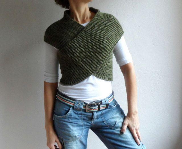 Tejer ejército verde chaleco Cross suéter bufanda por bysweetmom, $50.00