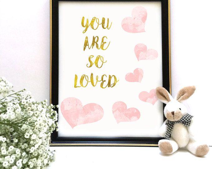 U zijn zo hield drukken, roze en gouden Decor van de kwekerij, Blush aquarel hart afdrukt, blozen en gouden kunst aan de muur, kinderkamer kunst, INSTANT DOWNLOAD