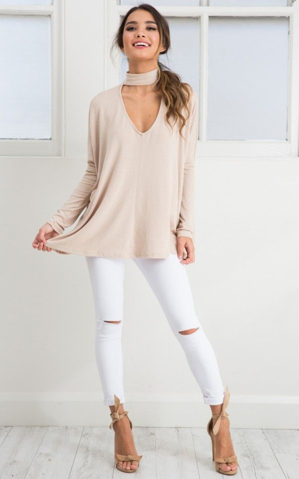 Wish You Were Here top in beige | SHOWPO Fashion Online Shopping