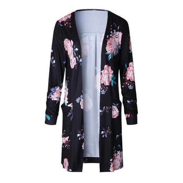 Plus Size Long Sleeve Cardigan Floral Print Thin Coat 2018 Autumn Open Stitch Women Sweaters and Cardigans Pockets Long Coats