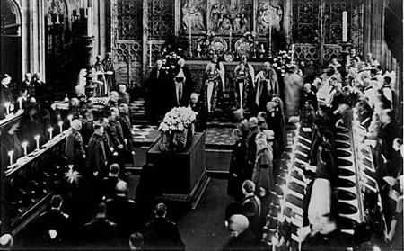 The coffin lies on the catafalque in St George's Chapel. The Funeral at Windsor of King George V. 1936.