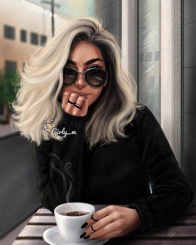 Girly_m Instagram dibujo  efecto  foto chica